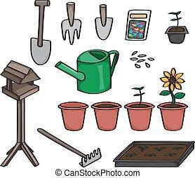 Set of Cartoon Gardening Tools