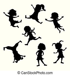 Set of cartoon girl silhouette,different action poses