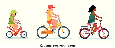 Set of cartoon girls riding a bike having fun riding bicycles isolated on white. Happy kids having fun on weekend.