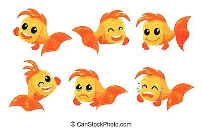 Set of cartoon goldfish. Vector illustration on a white background.