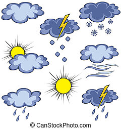 Set of cartoon graffiti weather icon. Cloud lightning sun...