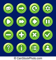 cartoon green Candy vector buttons for game