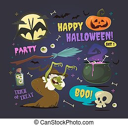 Set of cartoon halloween elements. Vector.