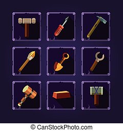 Set of cartoon hand tools. Vector