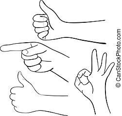 Set of cartoon hands