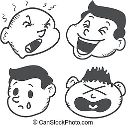 set of cartoon head