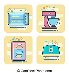 set of cartoon home appliance icon.