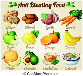 Set of cartoon icons. Anti bloating food