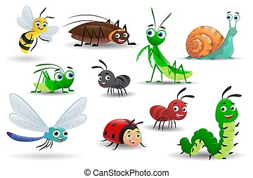Set of  cartoon insects on white background