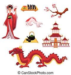 Set of cartoon Japanese culture elements, symbols