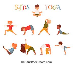 Set of cartoon kids in yoga poses, small children doing fitness exercise, stretching, meditating and training