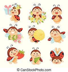 Set of cartoon ladybugs. Vector illustration on a white background.