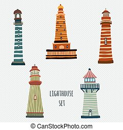 set of cartoon lighthouses