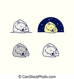 Set of cartoon line art sleeping bear vector design illustration