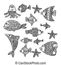 Set of cartoon marine life.