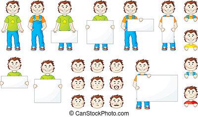 Set of cartoon men with cards
