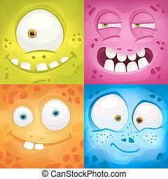Set of cartoon monster faces