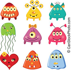 Set of cartoon monsters over white