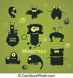 Set of cartoon monsters - Set of 9 silhouettes of monsters