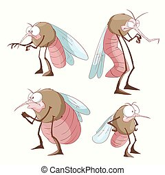 Set of cartoon mosquitoes