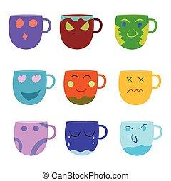 Set of cartoon mug Colorfull on white background