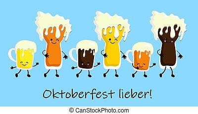 set of cartoon mug of beer mascot on white background.