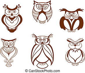Set of cartoon owl birds isolated on white background