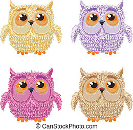 Set of cartoon owls for wisdom or education concept design. All birds are isolated on white background.