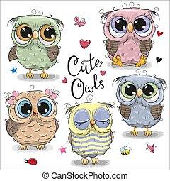 Set of cartoon owls on a white background