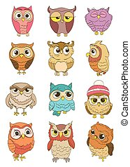 set of cartoon owls. vector