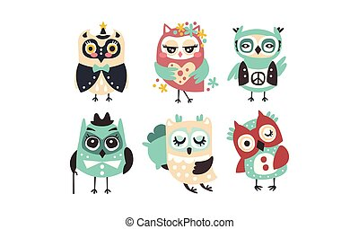 Set of cartoon owls. Vector illustration on a white background.