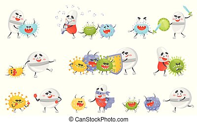 Set of cartoon pills and germs. Vector illustration.