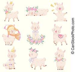 Set of cartoon pink llamas. Vector illustration on white background.