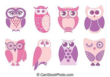 Set of cartoon pink owls