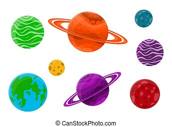 Set of cartoon planets. Vector illustration