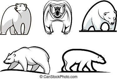 Set of cartoon polar bears