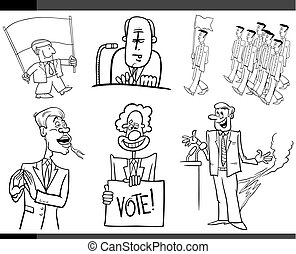 set of cartoon politics concepts
