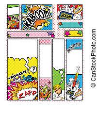 Set of Cartoon Pop Art Style Banners Sizes; 88 x 31, 468 x 60, 234 x 60, 120 x 240, 120 x 600, 160 x 600, 300 x 600, 252 x 144 and 300 x 250