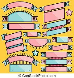 Set of cartoon ribbons and badges