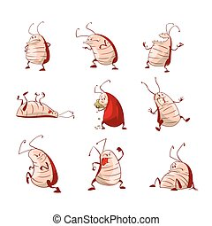 Set of cartoon roaches