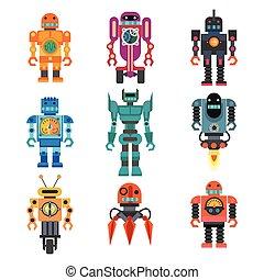 Set of cartoon robots.
