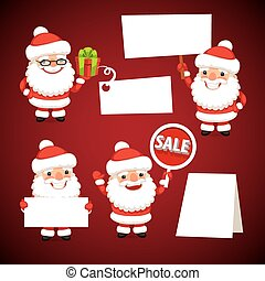 Set of Cartoon Santa Clauses Holding a White Empty Banners