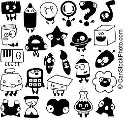 set of cartoon school objects silhouettes