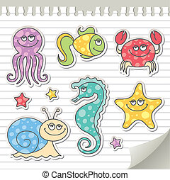 sea creatures - set of cartoon sea creatures, vector ...