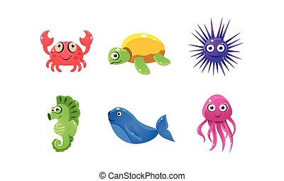 Set of cartoon sea creatures with funny faces. Marine animals. Flat vector for mobile game of children book