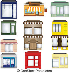 Set of Cartoon Shops - cartoon house / shop icons collection
