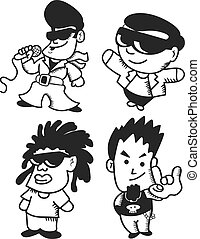 set of cartoon singer