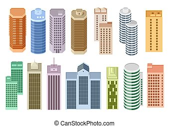Set of cartoon skyscrapers