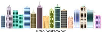 Set of cartoon skyscrapers