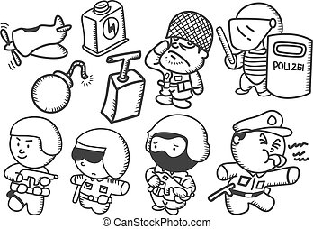 set of cartoon soldier
